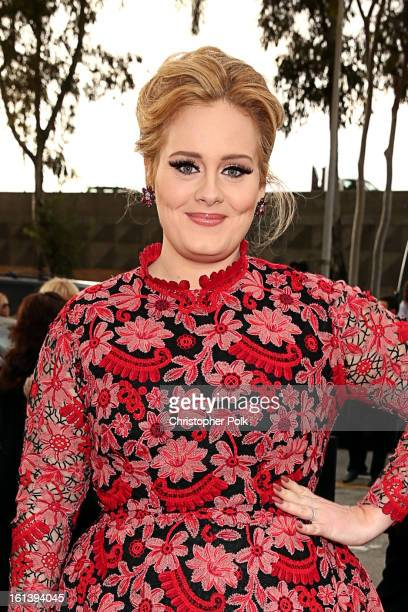Adele arrives at the 55th Annual GRAMMY Awards on February 10 2013 in Los Angeles California