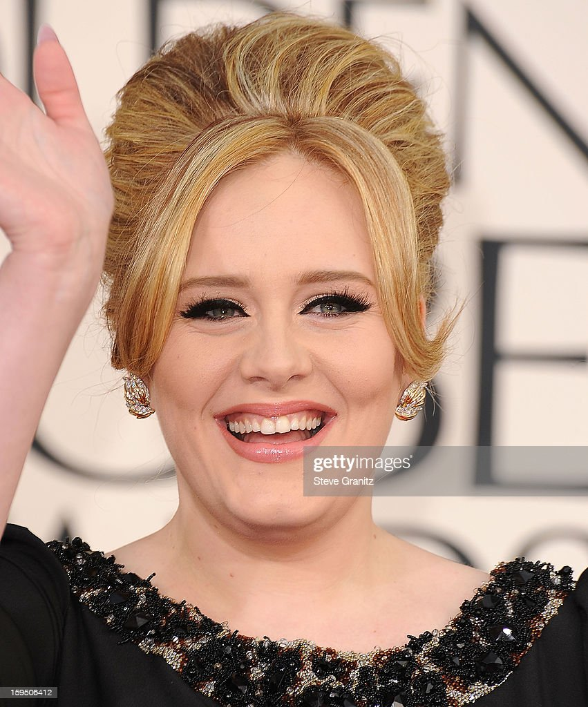 Adele arrives at the 70th Annual Golden Globe Awards at The Beverly Hilton Hotel on January 13, 2013 in Beverly Hills, California.