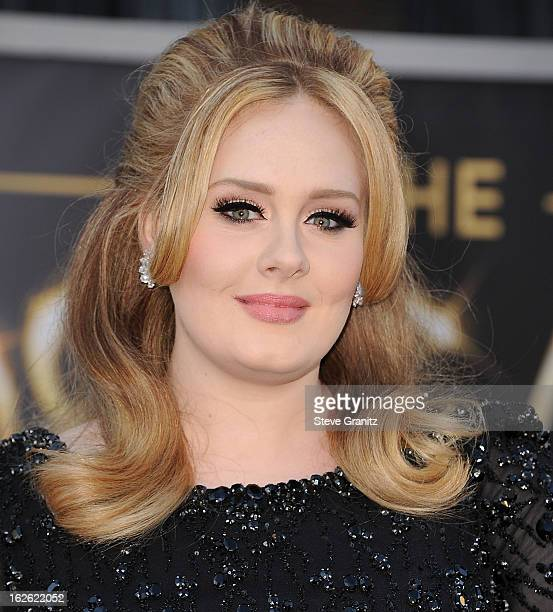 Adele arrives at the 85th Annual Academy Awards at Dolby Theatre on February 24 2013 in Hollywood California