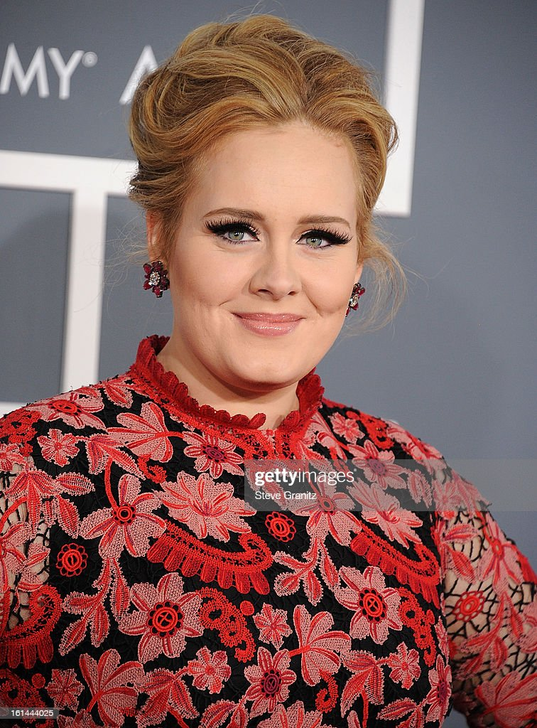 <a gi-track='captionPersonalityLinkClicked' href=/galleries/search?phrase=Adele+-+Zangeres&family=editorial&specificpeople=4898935 ng-click='$event.stopPropagation()'>Adele</a> arrives at the The 55th Annual GRAMMY Awards on February 10, 2013 in Los Angeles, California.