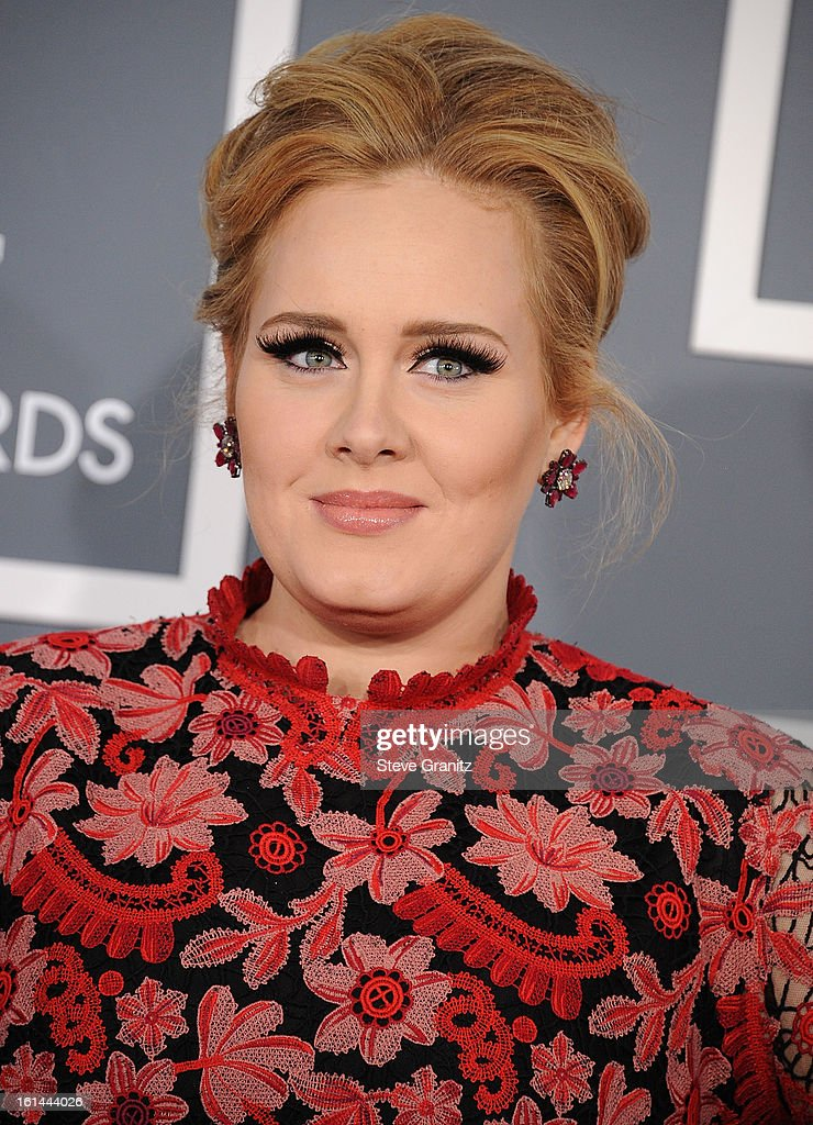 <a gi-track='captionPersonalityLinkClicked' href=/galleries/search?phrase=Adele+-+Cantora&family=editorial&specificpeople=4898935 ng-click='$event.stopPropagation()'>Adele</a> arrives at the The 55th Annual GRAMMY Awards on February 10, 2013 in Los Angeles, California.