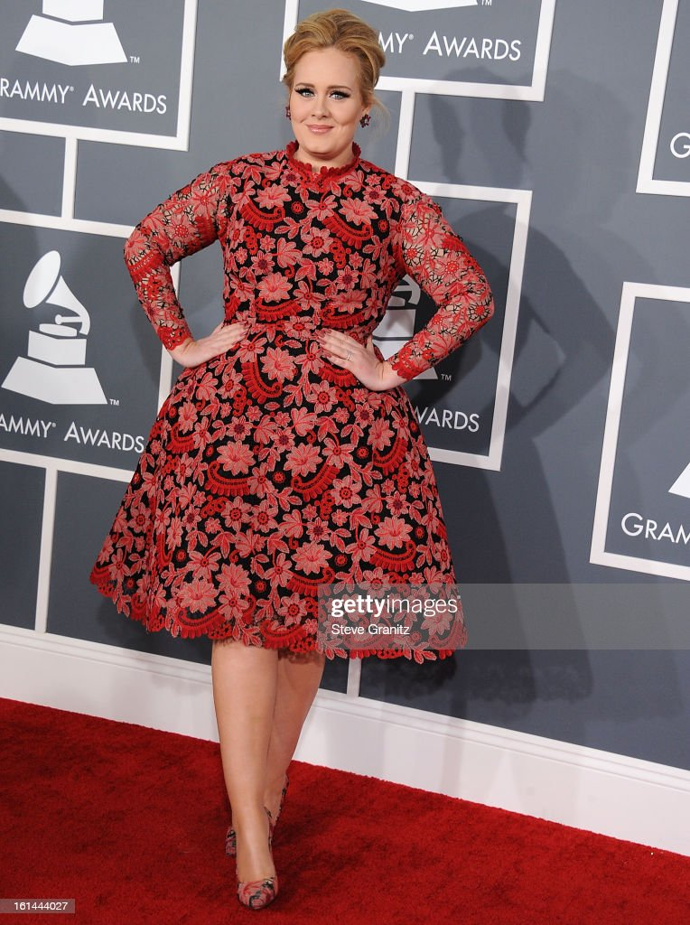 Adele arrives at the The 55th Annual GRAMMY Awards on February 10, 2013 in Los Angeles, California.