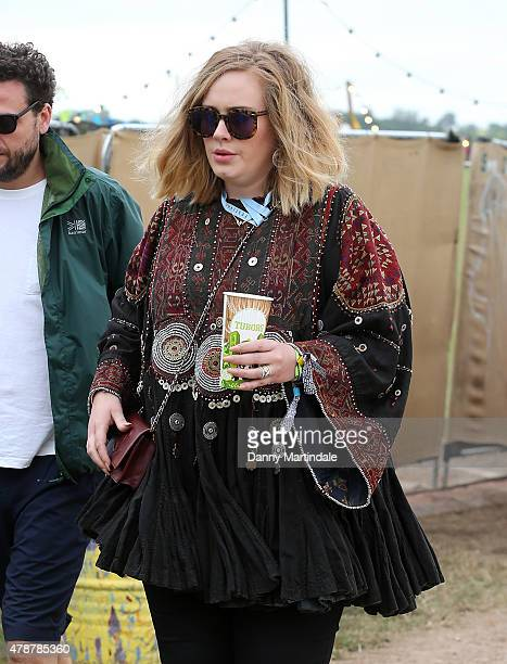 Adele at the Glastonbury Festival at Worthy Farm Pilton on June 27 2015 in Glastonbury England