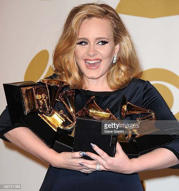 Adele Atkins attends The 54th Annual GRAMMY Awards Media Center at Staples Center on February 12 2012 in Los Angeles California