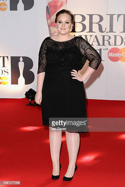 Adele attends The Brit Awards 2011 held at The O2 Arena on February 15 2011 in London England