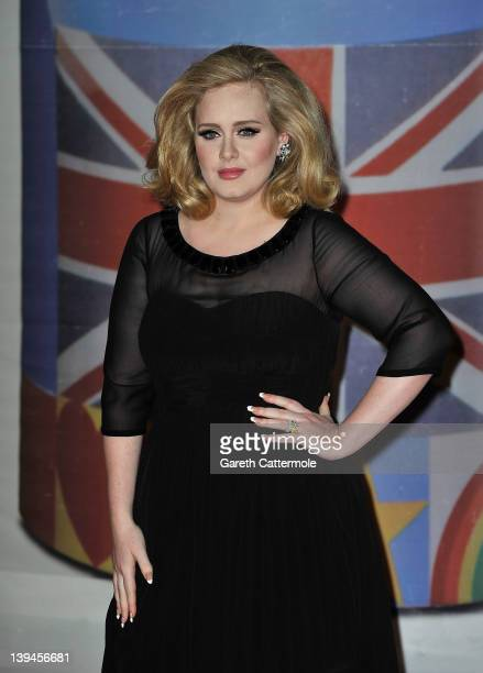 Adele attends The BRIT Awards 2012 at the O2 Arena on February 21 2012 in London England