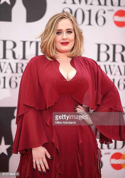 Adele attends the BRIT Awards 2016 at The O2 Arena on February 24 2016 in London England