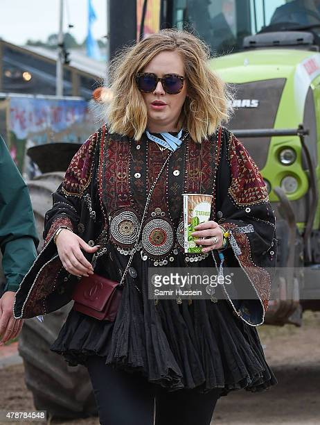 Adele attends the Glastonbury Festival at Worthy Farm Pilton on June 27 2015 in Glastonbury England
