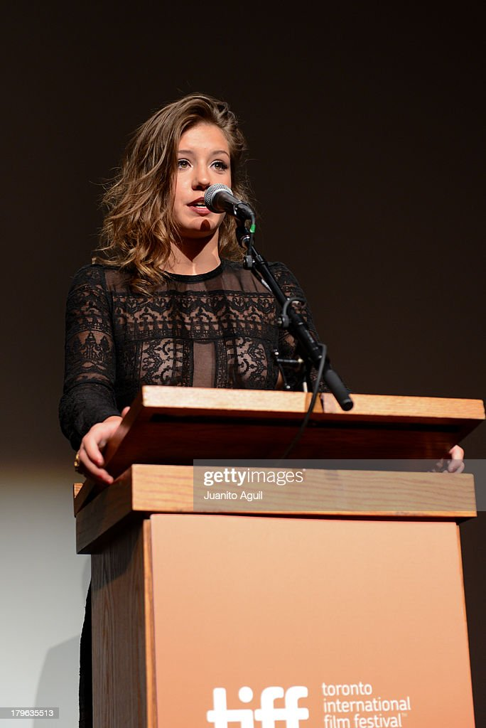 Adele Exarchopoulos addresses audience before premiere of Blue Is The Warmest Color at Winter Garden Theatre on September 5, 2013 in Toronto, Canada.