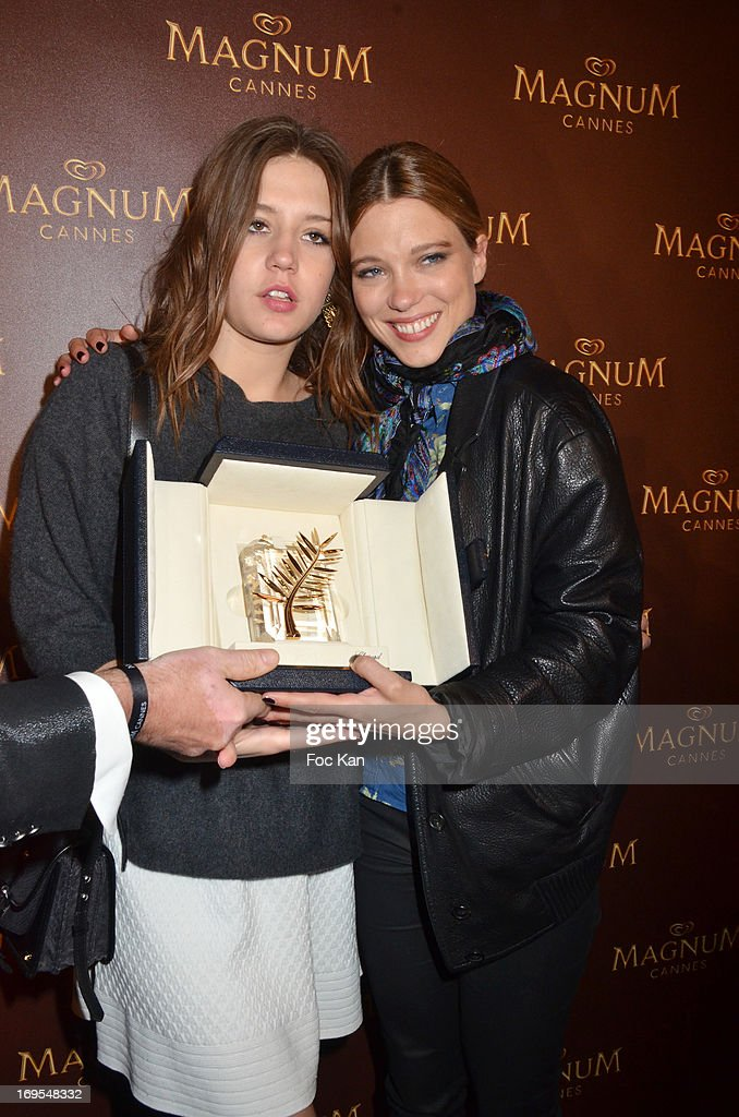 Adele Exarchopoulos and Lea Seydoux attend La Vie D'Adele Palme d'Or Party At The Magnum Cannes Plage - The 66th Annual Cannes Film Festival on May 26, 2013 in Cannes, France.