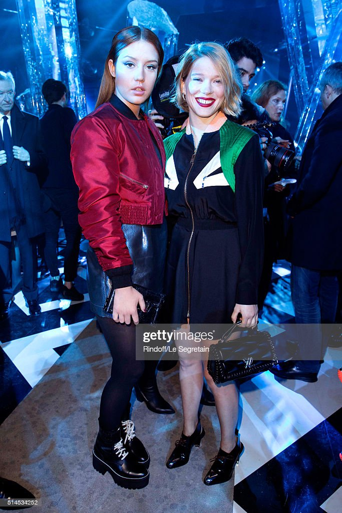 Adele Exarchopoulos and Lea Seydoux attend the Louis Vuitton show as part of the Paris Fashion Week Womenswear Fall/Winter 2016/2017. Held at Louis Vuitton Foundation on March 9, 2016 in Paris, France.