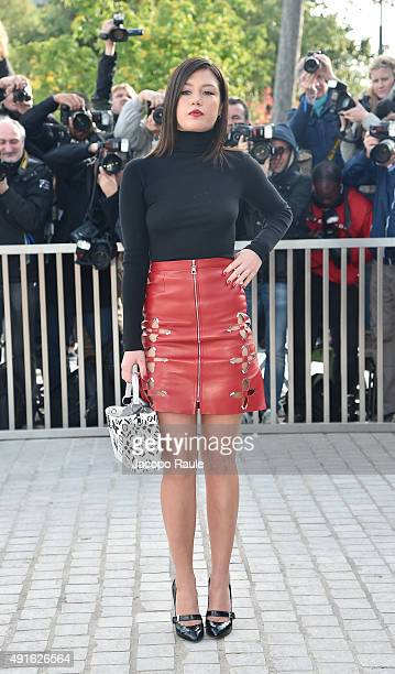 Adele Exarchopoulos arrives at the Louis Vuitton Fashion Show during the Paris Fashion Week S/S 2016 Day Nine on October 7 2015 in Paris France