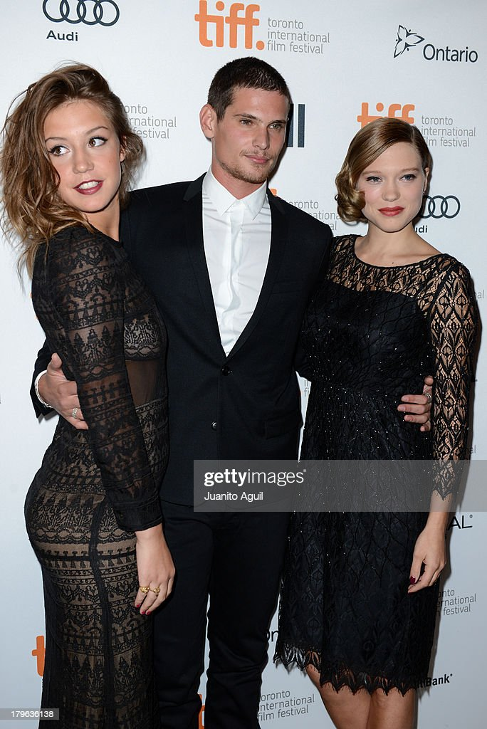 Adele Exarchopoulos, <a gi-track='captionPersonalityLinkClicked' href=/galleries/search?phrase=Jeremie+Laheurte&family=editorial&specificpeople=10925728 ng-click='$event.stopPropagation()'>Jeremie Laheurte</a> and Lea Seydoux attend premeire of 'Blue Is The Warmest Color' at Winter Garden Theatre on September 5, 2013 in Toronto, Canada.