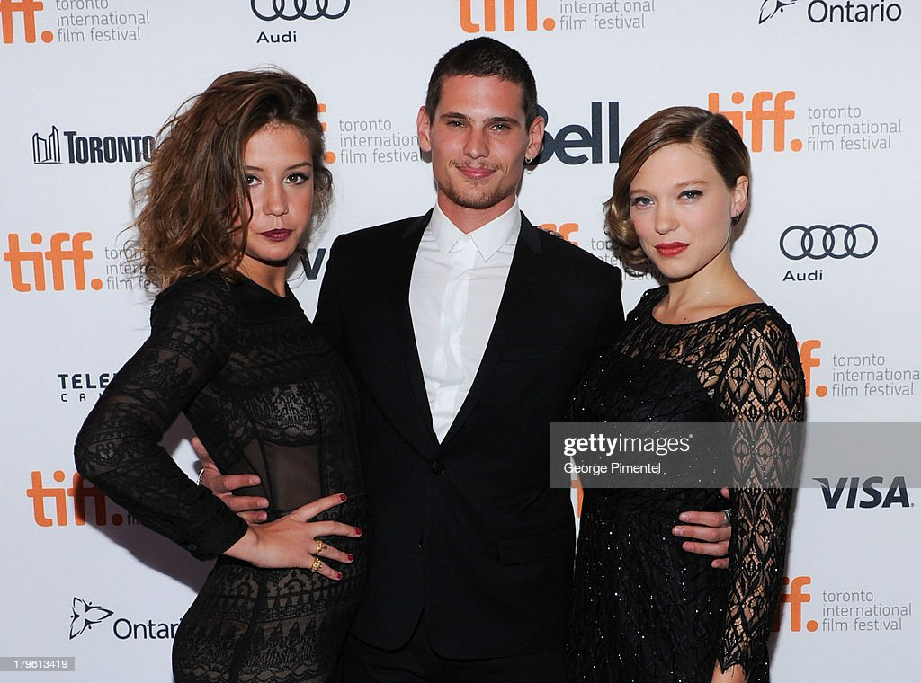 Adele Exarchopoulos, <a gi-track='captionPersonalityLinkClicked' href=/galleries/search?phrase=Jeremie+Laheurte&family=editorial&specificpeople=10925728 ng-click='$event.stopPropagation()'>Jeremie Laheurte</a> and Lea Seydoux attend the 'Blue Is The Warmest Color' premiere at the Winter Garden Theatre on September 5, 2013 in Toronto, Canada.
