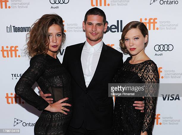 Adele Exarchopoulos Jeremie Laheurte and Lea Seydoux attend the 'Blue Is The Warmest Color' premiere at the Winter Garden Theatre on September 5 2013...