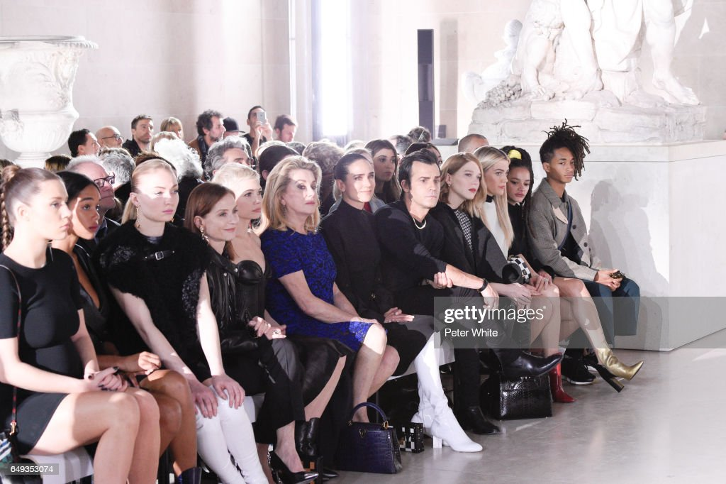 Adele Exarchopoulos, Sophie Turner, Isabelle Huppert, Michelle Williams, Catherine Deneuve, Jennifer Connelly, Justin Theroux, Lea Seydoux and Jaden Smith attend the Louis Vuitton show as part of the Paris Fashion Week Womenswear Fall/Winter 2017/2018 on March 7, 2017 in Paris, France.
