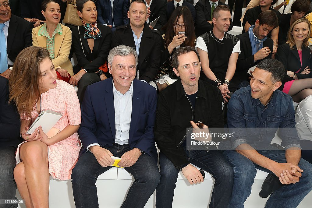Adele Exarcopoulos, Sidney Toledano, Gad Elmaleh and Roschdy Zem attend Dior Homme Menswear Spring/Summer 2014 show as part of Paris Fashion Week on June 29, 2013 in Paris, France.
