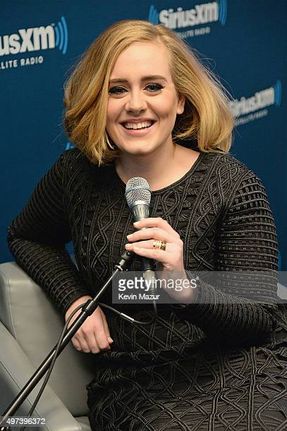 Adele goes one on one with fans during an exclusive SiriusXM Town Hall Special in the SiriusXM Studios on November 16 2015 in New York City