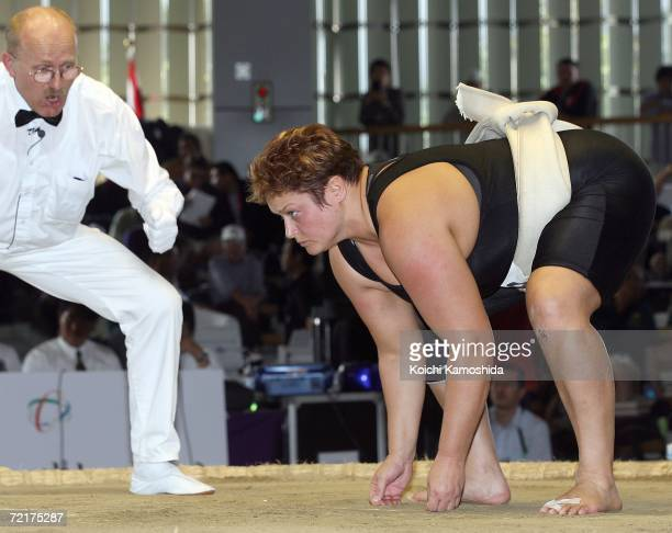 Adele Jones of England poses in the women's Open Division during the 5th Shinsumo World Championships at Ohama Park Sumo Ground on October 15 2006 in...
