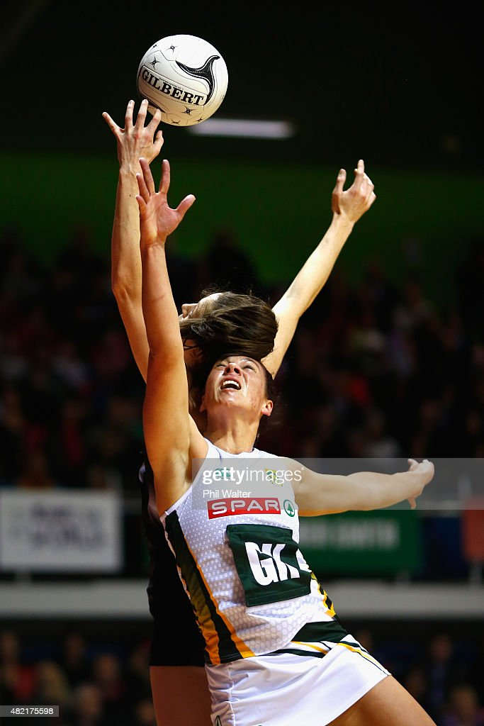 Adele Niemand of the Proteas and Bailey Mes of the Silver Ferns contest the ball during the International Test Match between the New Zealand Silver...