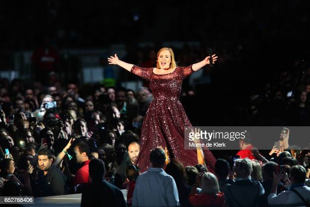 Adele performs at Adelaide Oval on March 13 2017 in Adelaide Australia