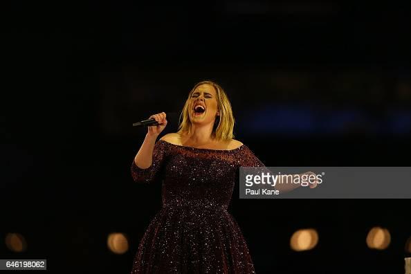 Adele performs at Domain Stadium on February 28 2017 in Perth Australia