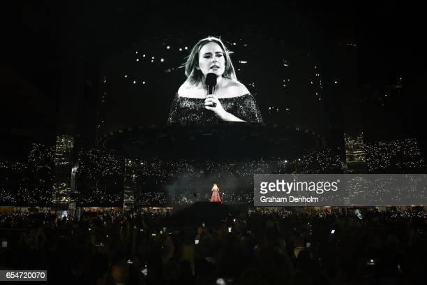 Adele performs at Etihad Stadium on March 18 2017 in Melbourne Australia