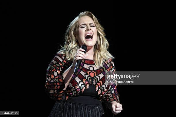 Adele performs during THE 59TH ANNUAL GRAMMY AWARDS broadcast live from the STAPLES Center in Los Angeles Sunday Feb 12 on the CBS Television Network