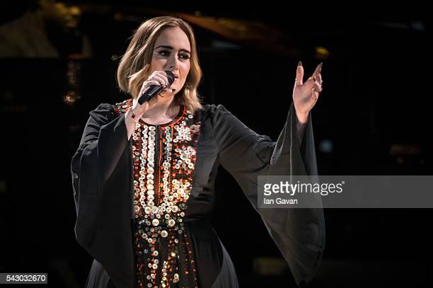 Adele performs on The Pyramid Stage on day 2 of the Glastonbury Festival at Worthy Farm Pilton on June 25 2016 in Glastonbury England Now its 46th...