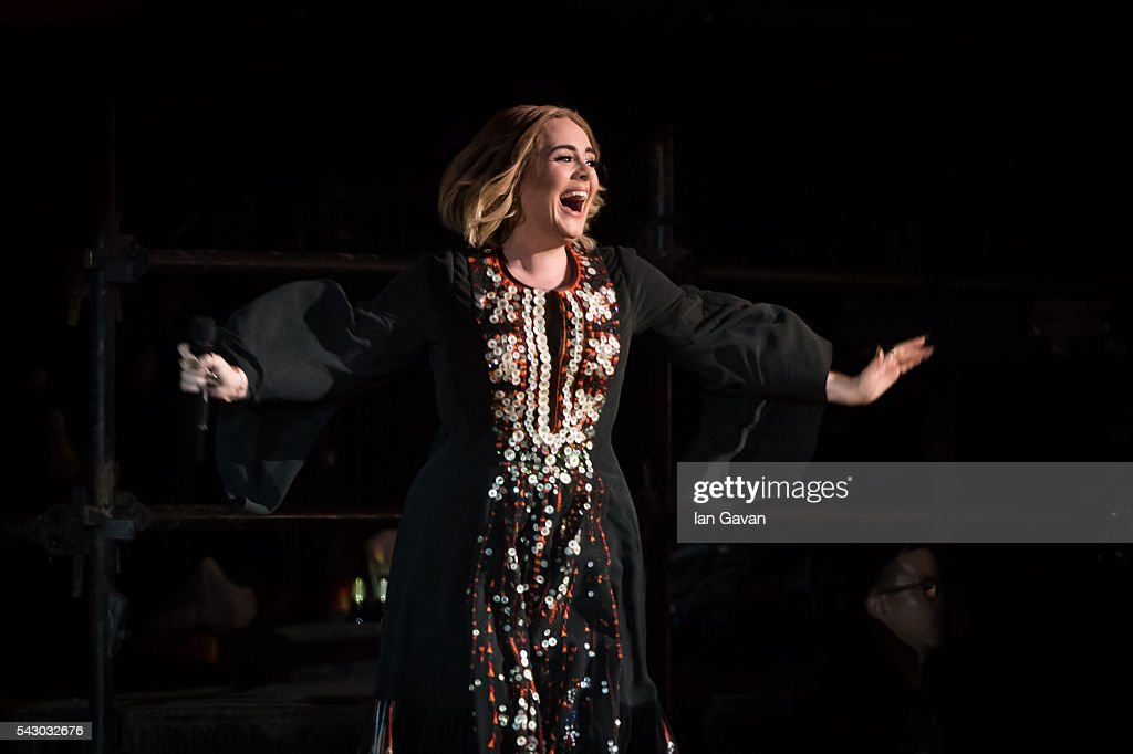 Adele performs on The Pyramid Stage on day 2 of the Glastonbury Festival at Worthy Farm, Pilton on June 25, 2016 in Glastonbury, England. Now its 46th year the festival is one largest music festivals in the world and this year features headline acts Muse, Adele and Coldplay. The Festival, which Michael Eavis started in 1970 when several hundred hippies paid just £1, now attracts more than 175,000 people.