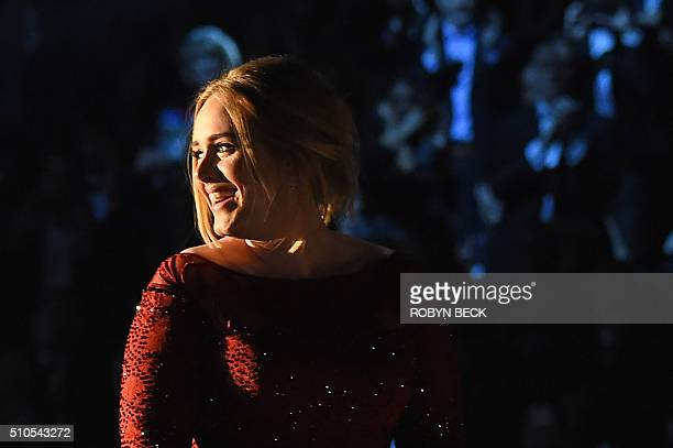 Adele performs onstage during the 58th Annual Grammy Awards in Los Angeles California on February 15 2016 AFP PHOTO / ROBYN BECK / AFP / ROBYN BECK