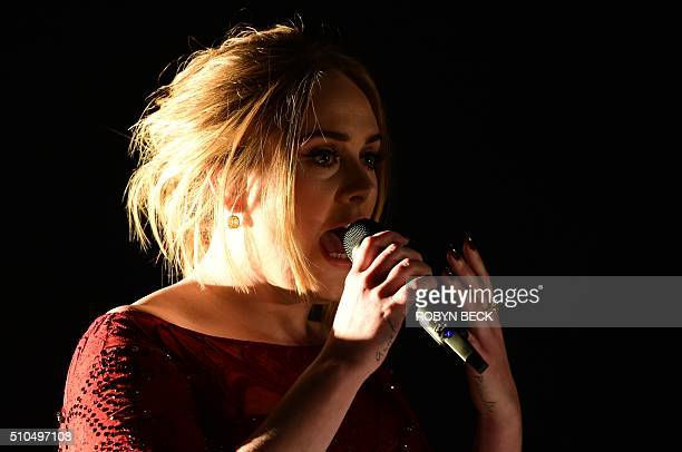 Adele performs onstage during the 58th Annual Grammy music Awards in Los Angeles February 15 2016 AFP PHOTO/ ROBYN BECK / AFP / ROBYN BECK