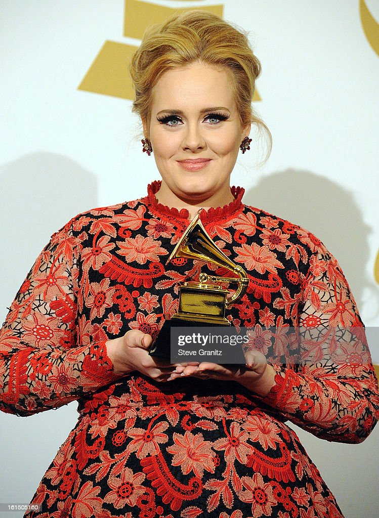 Adele poses at the The 55th Annual GRAMMY Awards on February 10 2013 in Los Angeles California