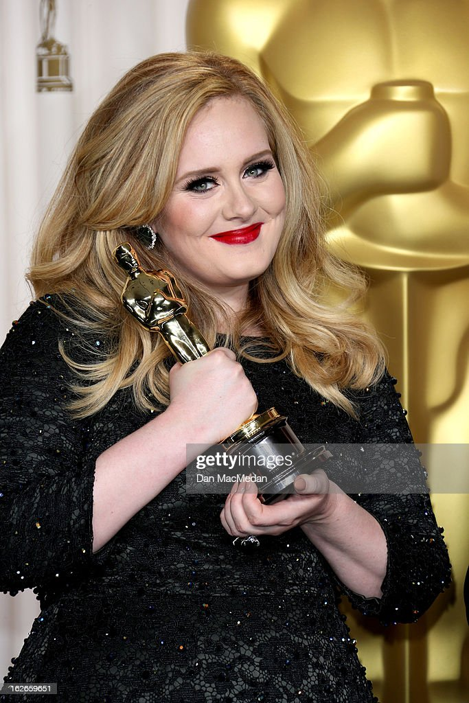 Adele poses in the press room at the 85th Annual Academy Awards at Hollywood & Highland Center on February 24, 2013 in Hollywood, California.