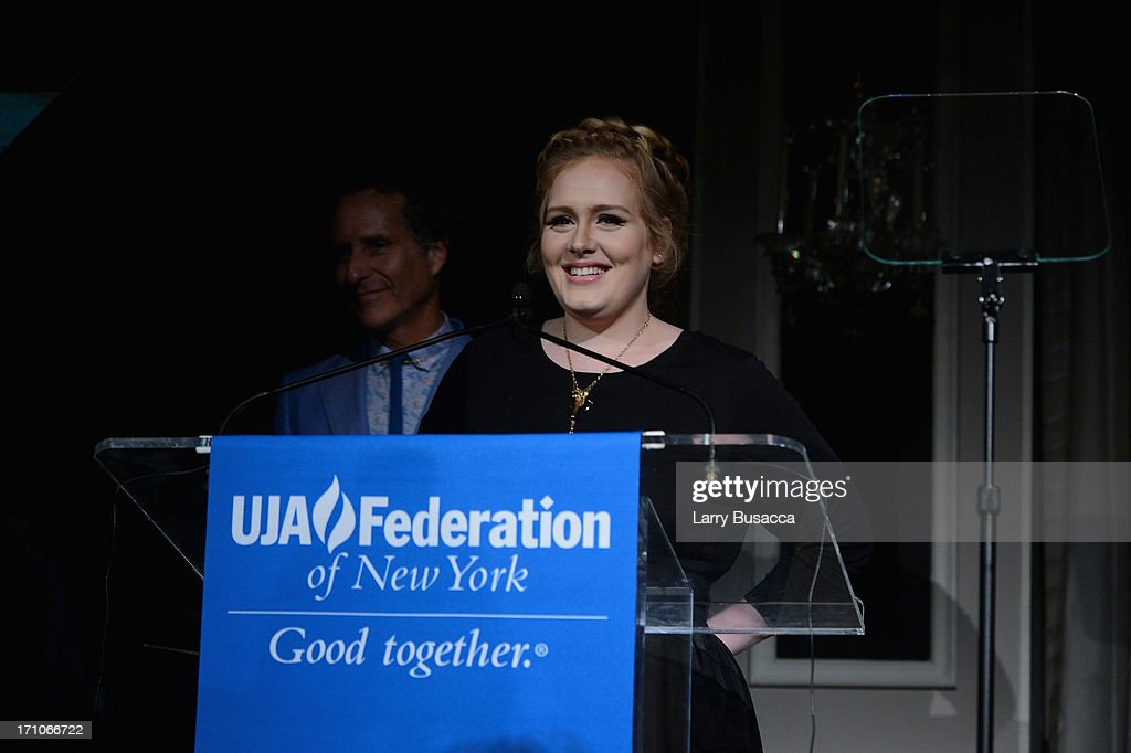 Adele speaks onstage at a luncheon honoring Rob Stringer as UJA-Federation of New York Music Visionary of 2013 at The Pierre Hotel on June 21, 2013 in New York City.