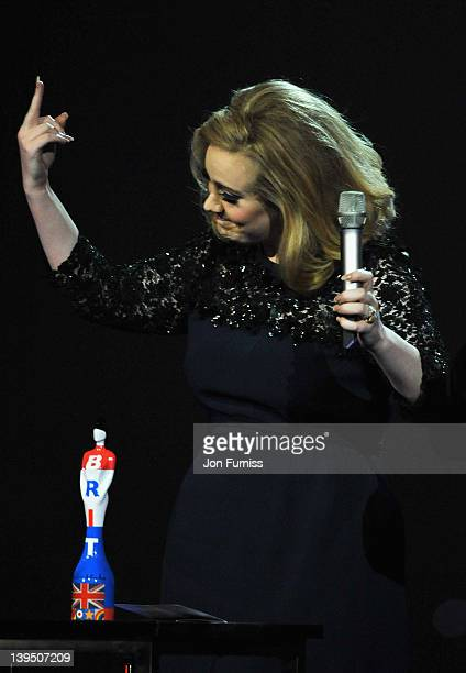 Adele swears during The BRIT Awards 2012 at the O2 Arena on February 21 2012 in London England