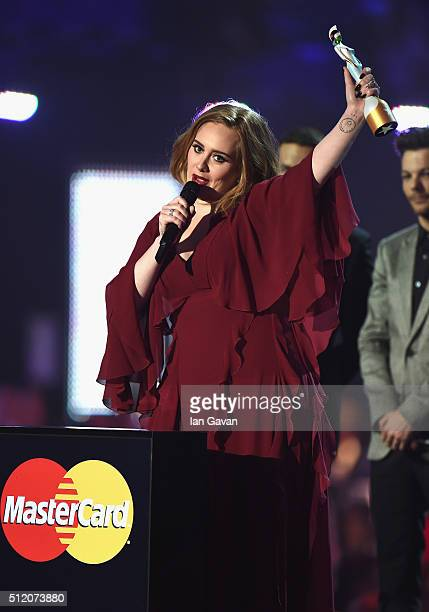 Adele with her Best British Female Solo Artist award on stage at the BRIT Awards 2016 at The O2 Arena on February 24 2016 in London England