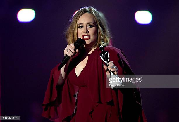 Adele with her British Single of the Year award on stage at the BRIT Awards 2016 at The O2 Arena on February 24 2016 in London England