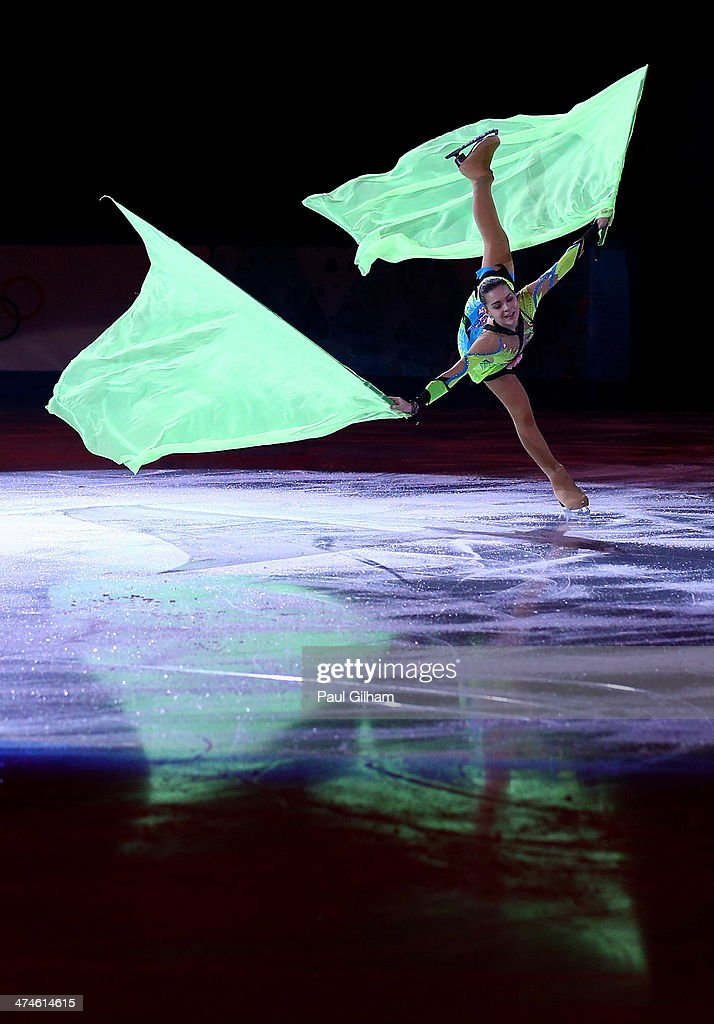 <a gi-track='captionPersonalityLinkClicked' href=/galleries/search?phrase=Adelina+Sotnikova&family=editorial&specificpeople=7380612 ng-click='$event.stopPropagation()'>Adelina Sotnikova</a> of Russia performs during the Figure Skating Exhibition Gala at Iceberg Skating Palace on February 22, 2014 in Sochi.