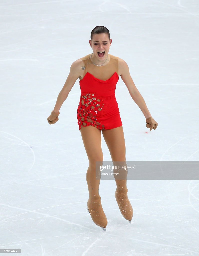 Adelina Sotnikova of Russia reacts after competing in the Figure Skating Ladies' Short Program on day 12 of the Sochi 2014 Winter Olympics at Iceberg Skating Palace on February 19, 2014 in Sochi, Russia.