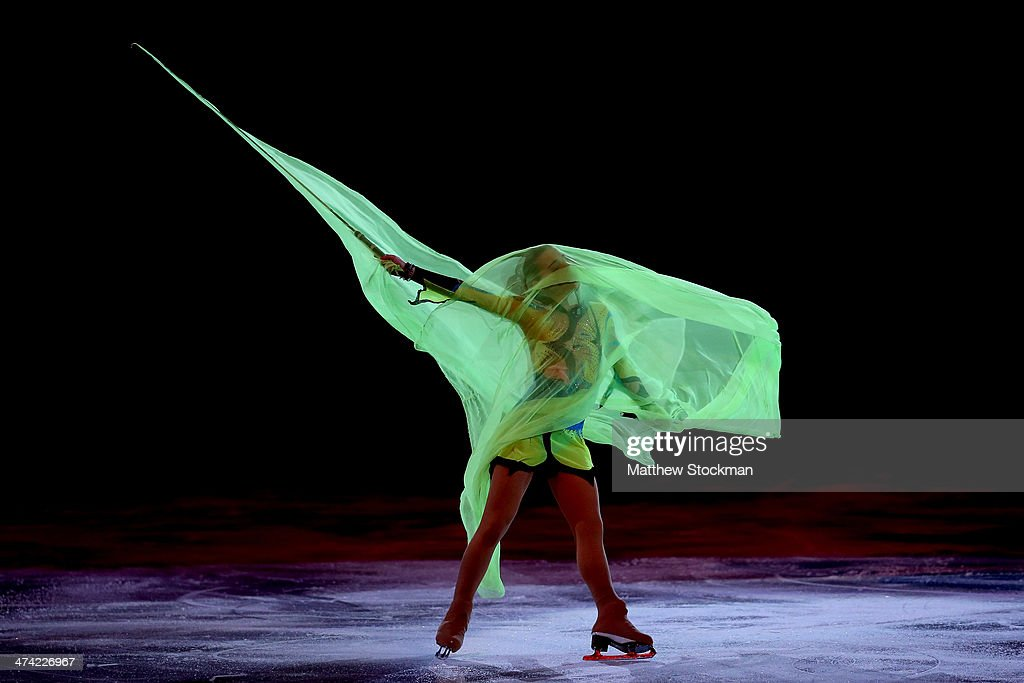 Adelina Sotnikova of Russia skates during the Figure Skating Exhibition Gala on Day 15 of the Sochi 2014 Winter Olympics at Iceberg Skating Palace on...