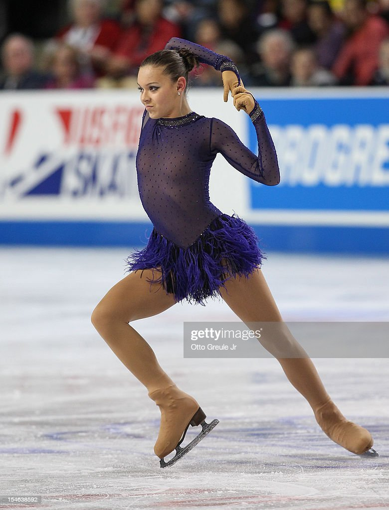 Adelina Sotnikova of Russia skates in the ladies free skate during Day 3 of the Skate America competition at the ShoWare Center on October 21, 2012 in Kent, Washington.