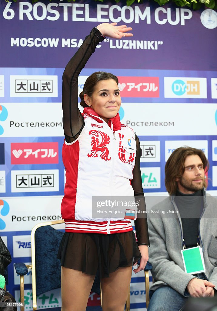 Adelina Sotnikova of Russia waves to the TV camera after skating during the Ladies Free Skating on day two of the Rostelecom Cup ISU Grand Prix of Figure Skating 2015 at the Luzhniki Palace of Sports on November 21, 2015 in Moscow, Russia.