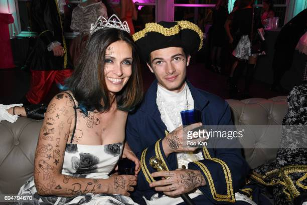 Adeline Blondieau and artist urban calligrapher Aitor Postit attend 'Bal des Princesses 2017' at Chalet du Lac on June 10 2017 in Paris France