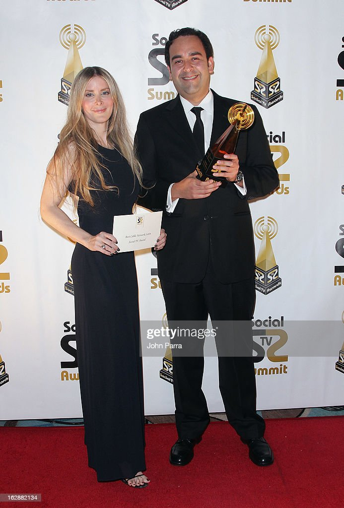 Adeline Cassin and Mauricio Angarita attend the 2013 Latin Social TV Awards at Fontainebleau Miami Beach on February 28, 2013 in Miami Beach, Florida.