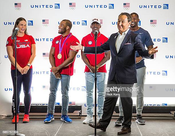 Adeline Gray Justin Gatlin Trayvon Bromell United Airlines CEO Oscar Munoz Jordan Burroughs and United Airlines celebrate Team USA as over 85 US...