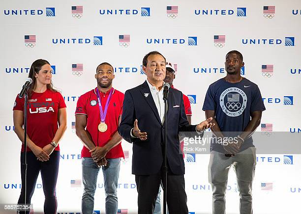 Adeline Gray Justin Gatlin United Airlines CEO Oscar Munoz Trayvon Bromell Jordan Burroughs and United Airlines celebrate Team USA as over 85 US...