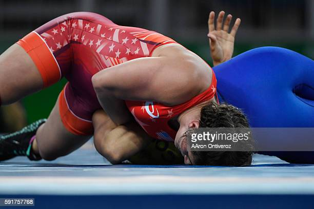 Adeline Gray of the United States works for a pin against Andrea Olaya of Columbia during women's freestyle wrestling round of 16 on Thursday August...