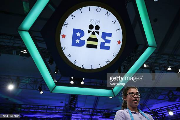 Adeline Moore of Forest Ohio participates in round two of the 2016 Scripps National Spelling Bee May 25 2016 in National Harbor Maryland Students...