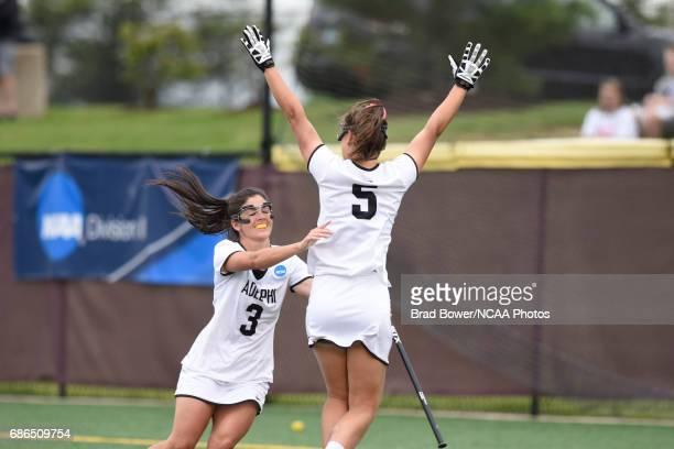 Adelphia University's Casey Zalewski celebrates teammate Jacqueline Jahelka's second half goal against Flordia Southern College in the Division II...